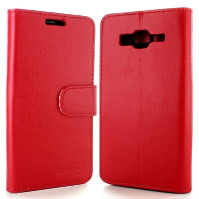 for Samsung Galaxy Grand Prime Wallet Case - Red Folio Faux Leather Pouch LCD for sale  Shipping to India