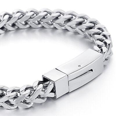 MENDINO Heavy Men's Stainless Steel Bracelet Square Wheat Chain Biker 8mm Silver