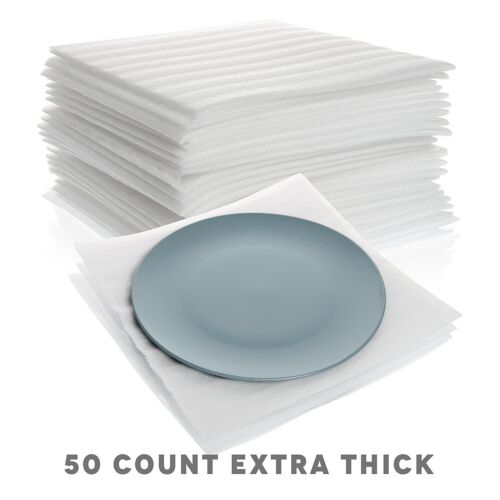 """Extra Thick Cushion Foam Sheets 12"""" x 12"""" (50 Count) Packing Supplies for Moving"""