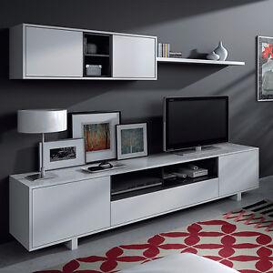 Mueble de comedor salon moderno libreria sal n tv blanco for Mueble salon blanco y negro