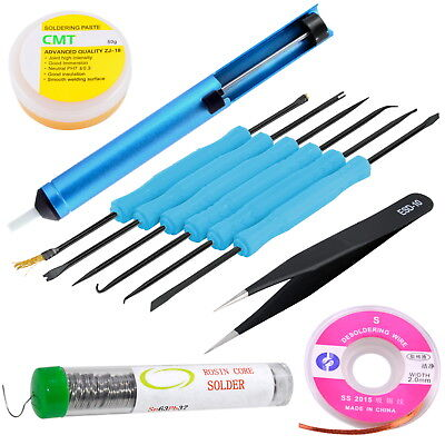 11PC Soldering Kit w/ Desoldering Pump, ESD Tweezers, Assist Tools, Wick, Flux