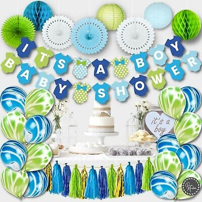 Decorations For Babyshower (Baby Shower Decorations for Boy  Green Blue)