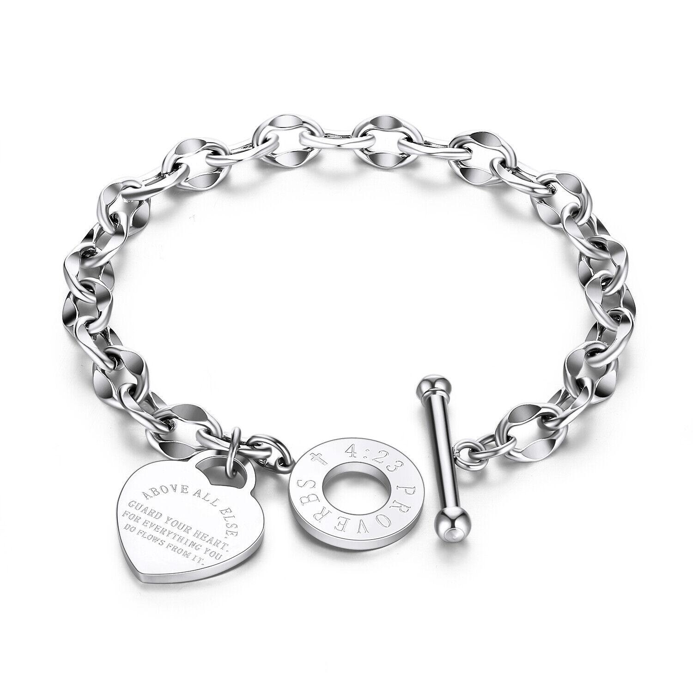Edelstahl Damen Armband Herz Anhänger Silber Bettelarmband Erbskette Gravur 18cm
