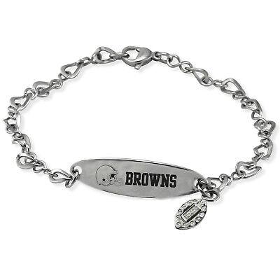 NFL * Cleveland Browns * Stainless Steel  Logo Dangle  CZ Charm Bracelet Jewelry