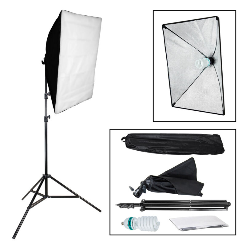 Photography Studio Softbox Continuous Lighting Stand Kit Photo Video