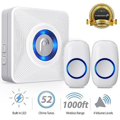 Fosmon 1000FT LED 4 Volume Wireless Doorbell [1 Plugin Receiver+2 Transmitter]