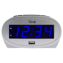 30025 Equity by La Crosse AC Powered 0.9 Blue LED Display Alarm Clock USB Port