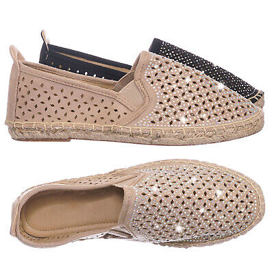 Movie Cutouts (Movie Espadrille Slip On Flats w Rhinestone -  Round Toe Cutout Loafer)