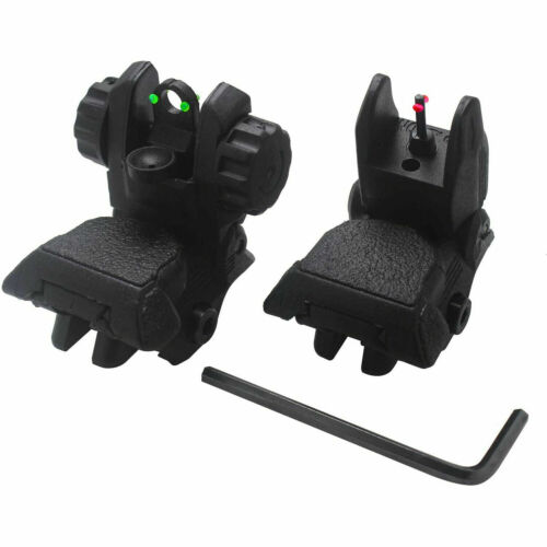Flip Up Iron Sight Front Rear Gun Pop up Backup Picatinny Weaver Rail Black NEW