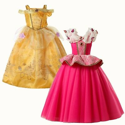Kids Girls Princess Belle Aurora Cosplay Costume Party Fancy Dress Halloween US