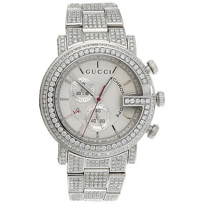 b25a06014d2 Mens Custom Diamond Gucci 101 G Watch Ya101339 White Dial 44mm Chronograph  15 CT