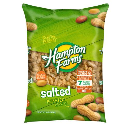 Hampton Farms Salted In-Shell Peanuts (2 Packs) 5 lbs each Gluten Free