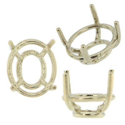 14K White Gold Oval Wire Basket Setting Mounting 4 Prong Tapered - 14k Gold Tapered
