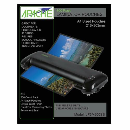 Apache Laminating Pouches, Letter Size, 300 Pack, 3 mil