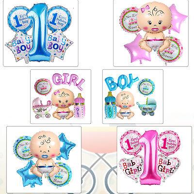 5pcs 1st Birthday Baby Shower Party Decoration Foil Balloon for Newborn Boy Girl - Birthday Decoration For Boy