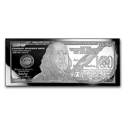 4 oz Silver Bar - 2018 $100 Bill (w/ Black Velvet Box & COA) - SKU #158690