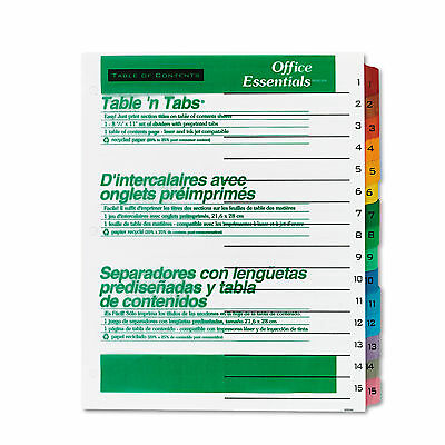 Office Essentials Table N Tabs Dividers 15-tab Letter 11675