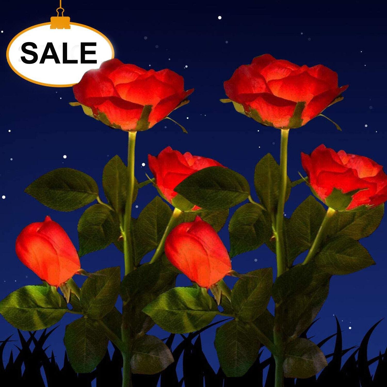solar power rose flower garden stake landscape