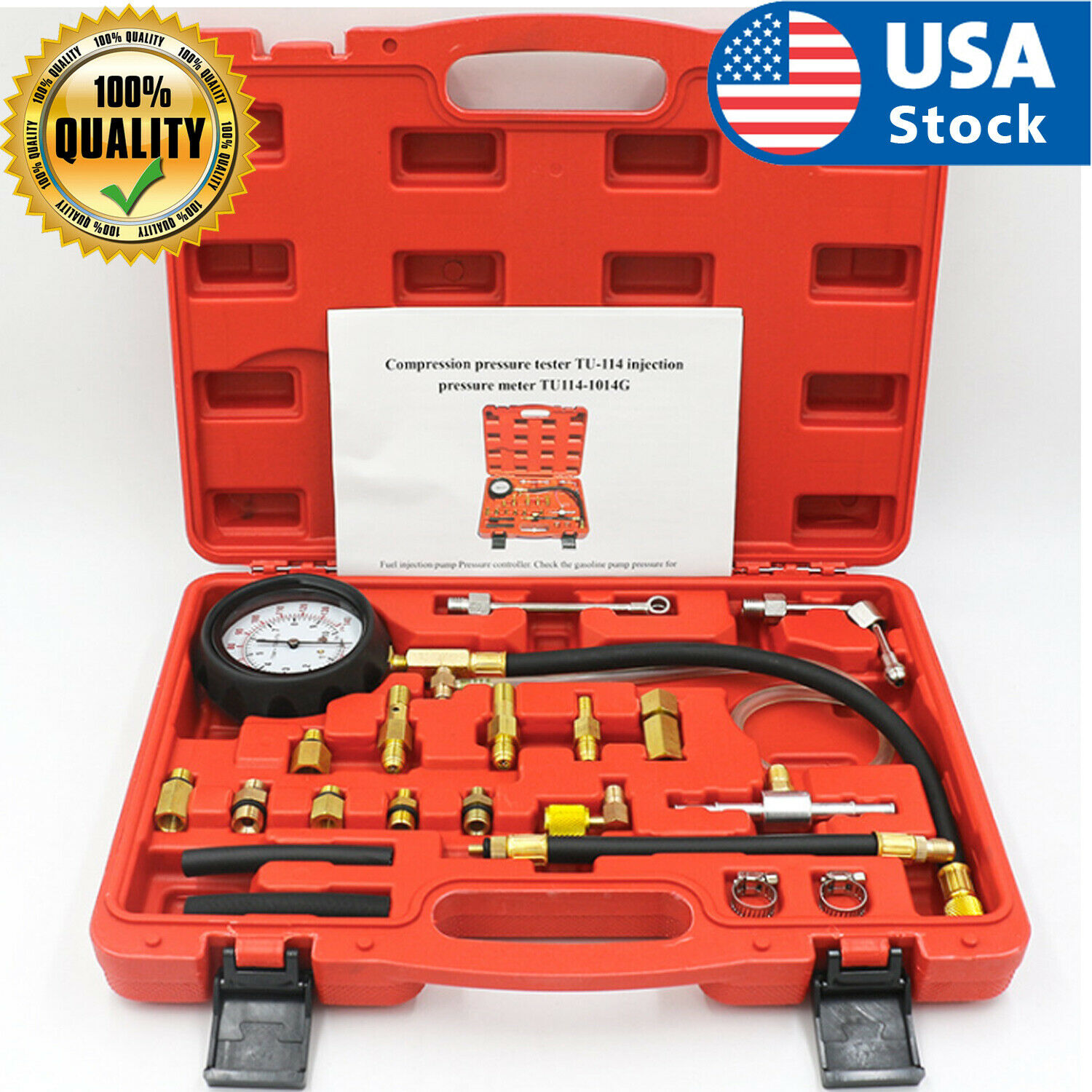 Fuel Injection Pump Pressure Tester Manometer Gauge System Test Kit For Car Auto Automotive Tools & Supplies