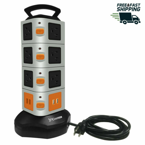 Power Strip Tower 14 Outlets 4 USB Ports Surge Overload Protector with 6FT Cord