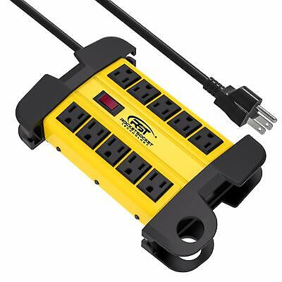 CRST Power Strip 10-Outlets Heavy Duty 15ft cord Metal Surge Protector 15 Amps Metal Surge Strip