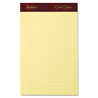 Ampad Gold Fibre Writing Pads Jr. Legal Rule 5 X 8 Canary 50 Sheets 4pack 20029