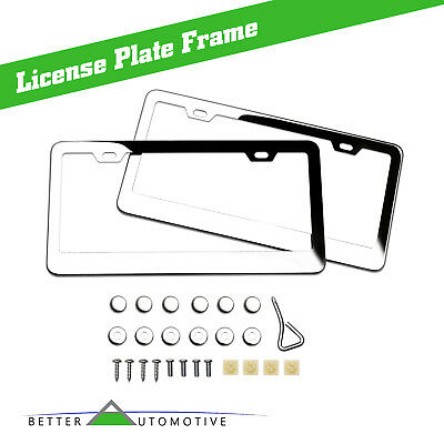 (2PCS Chrome Stainless Steel Metal License Plate Frame Tag Cover Screw Caps S/S)
