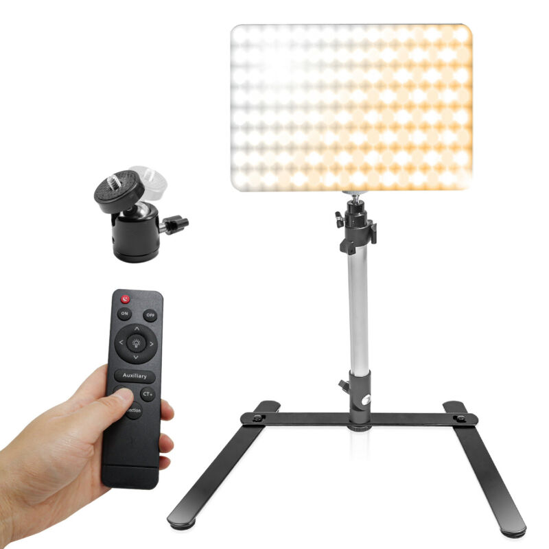 """240 LED Continuous Video Light with 17"""" Light Stand for Table Top Live Streaming"""
