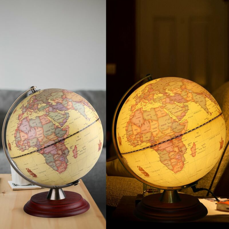 Globe World Map White Ocean Earth Rotating Home Office Table