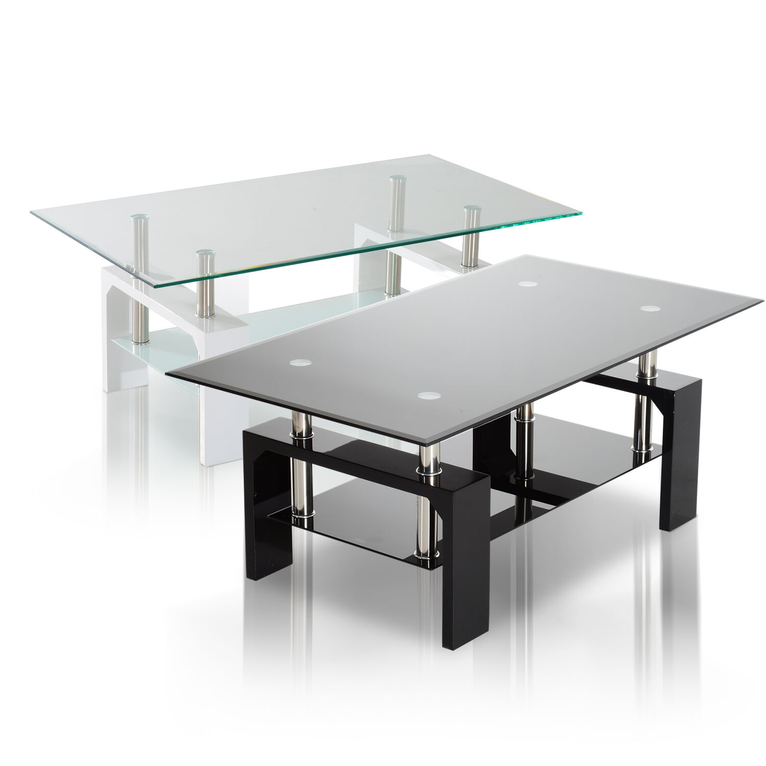 Glass Top Coffee Tables: Tempered Glass Top Coffee Table Rectangular Wood Shelf