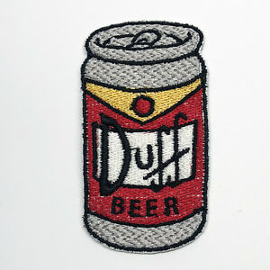 Embroidered iron on patch, The Simpsons Duff beer can