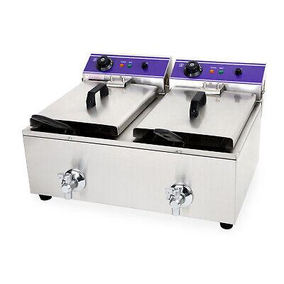 vertes 2x 10L Doble Freidora eléctrica profesional de acero inox válvula drenaje