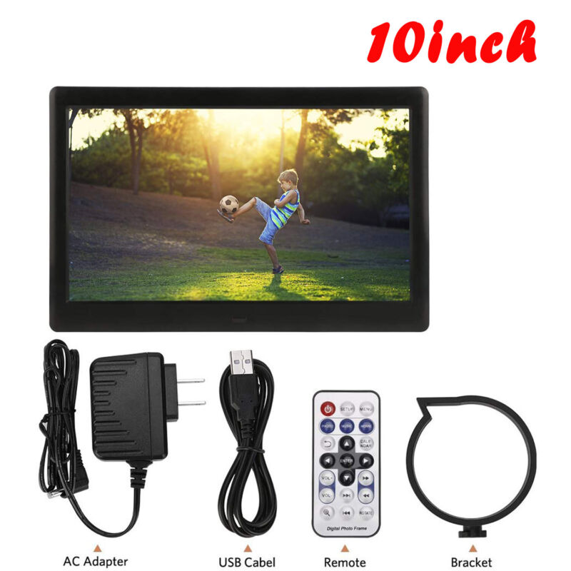 """HD Digital Photo Frame IPS LCD Screen 10"""" 32GB with Auto-Rotate Function 720p"""