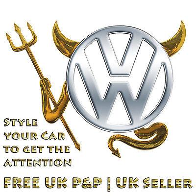 Gold 3D Devil Car Logo Emblem Decal Badge Sticker VW Volkswagen BMW Toyota