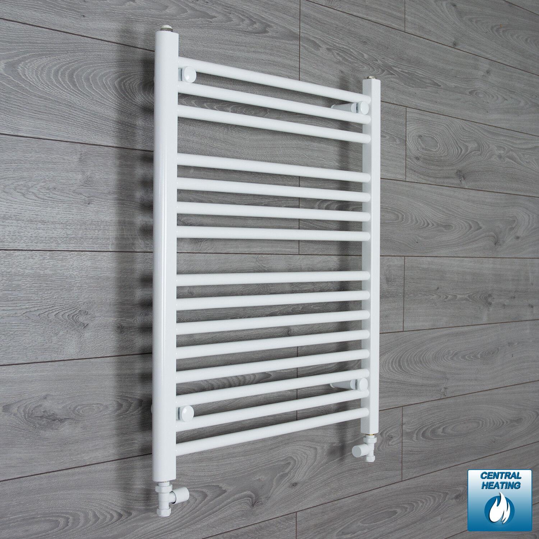 250mm Wide 600mm High Straight White Heated Towel Rail Radiator Bathroom Rad