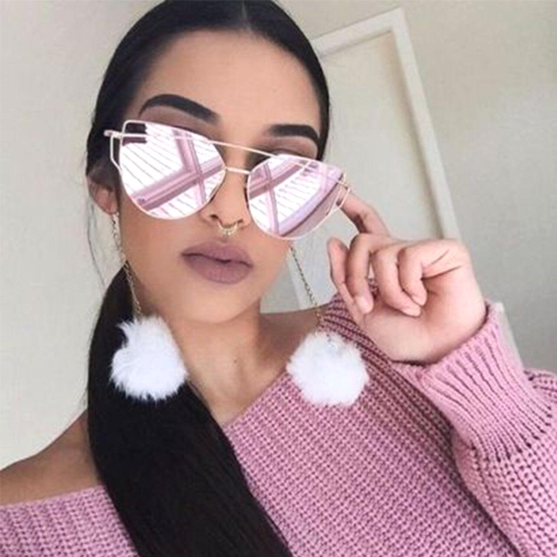 Large Oversized Cat Eye Sunglasses Flat Mirrored Lens Metal