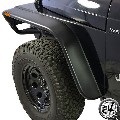 97 06 Jeep TJ Wrangler Flat Style Front  Rear Fender Flare w LED Side Light