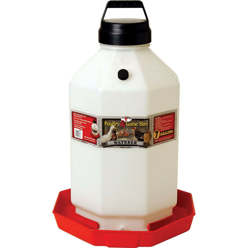 Little Giant PPF7 7 Gallon Capacity Poultry Waterer for Chickens, Red (Open Box)