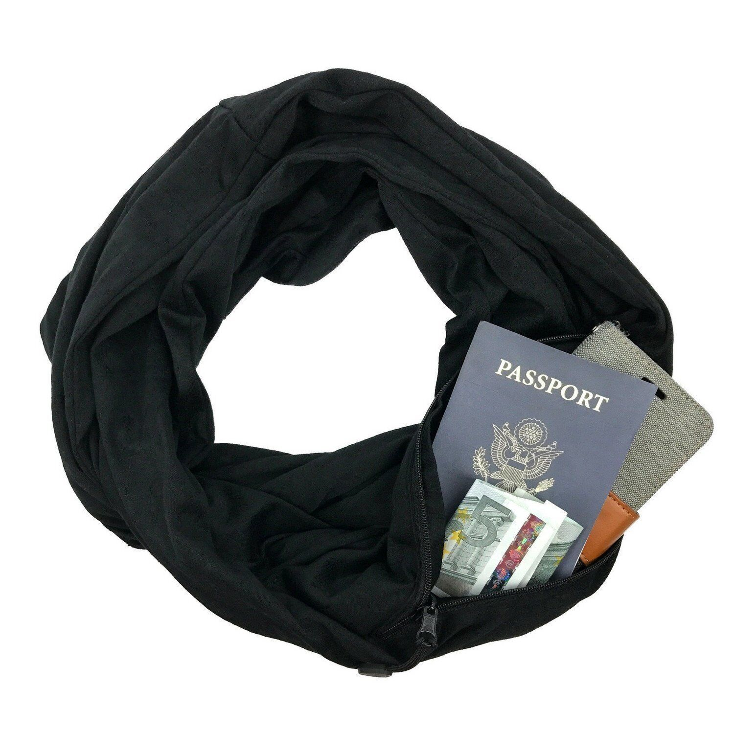 Hot Scarf Unisex Black Infinity Cotton Scarves With Zipper