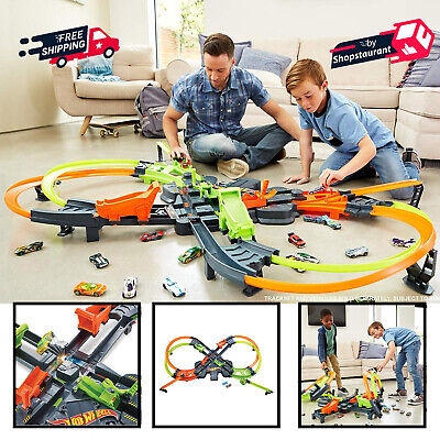 5 Ft Wide Colossal Crash Track Set W/ High Speed Boosters Kids Gift Car Toys
