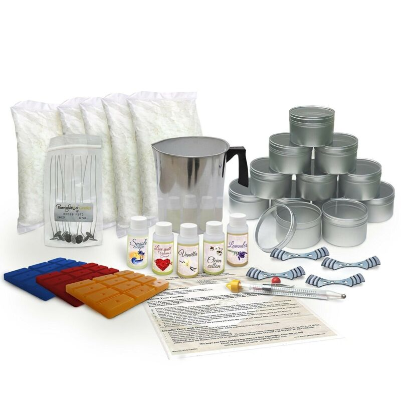 Candle Making Kit Large - Soy Wax (5 lbs), Pot, Thermometer, Scents, Wicks, Dyes