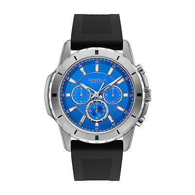 Blue Strap Chronograph Watch (Caravelle Men's 43A138 Quartz Chronograph Blue Dial Silicone Strap 44mm Watch )