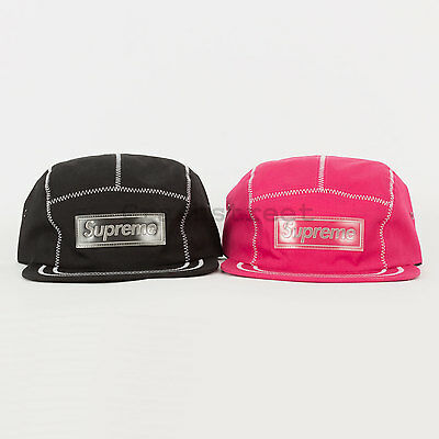 Black Tee Cap (Supreme FW16 Contrast Stitch Camp Cap box logo tee classic 5-panel black pink)