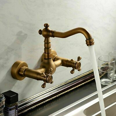Antique Brass Bathroom Sink Faucet Basin Vessel Mixer Tap Wall-mount Daul Handle China Wall Mount Basin