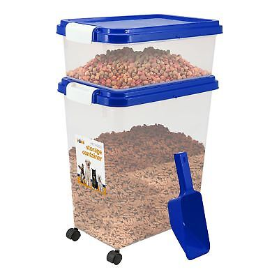 Pet Food Storage Container With Lids Pet Animal Food etc with 2 cup Scoop Blue