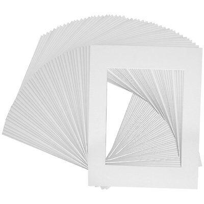 Set Of 100 11x14 White Whitecore Mats For 8x10 Photos +ba...