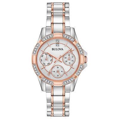 Bulova Women's Quartz Crystal Accents Rose Gold Tone 32mm Watch 98N110