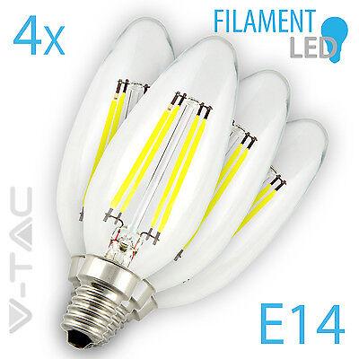 4x 4W Glühfaden Kerze -wie 40W- LED Glühbirne Filament 400lm E14 warm weiß