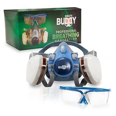 Breath Buddy Respirator Mask (Plus Safety Glasses) Reusable Professional Brea...