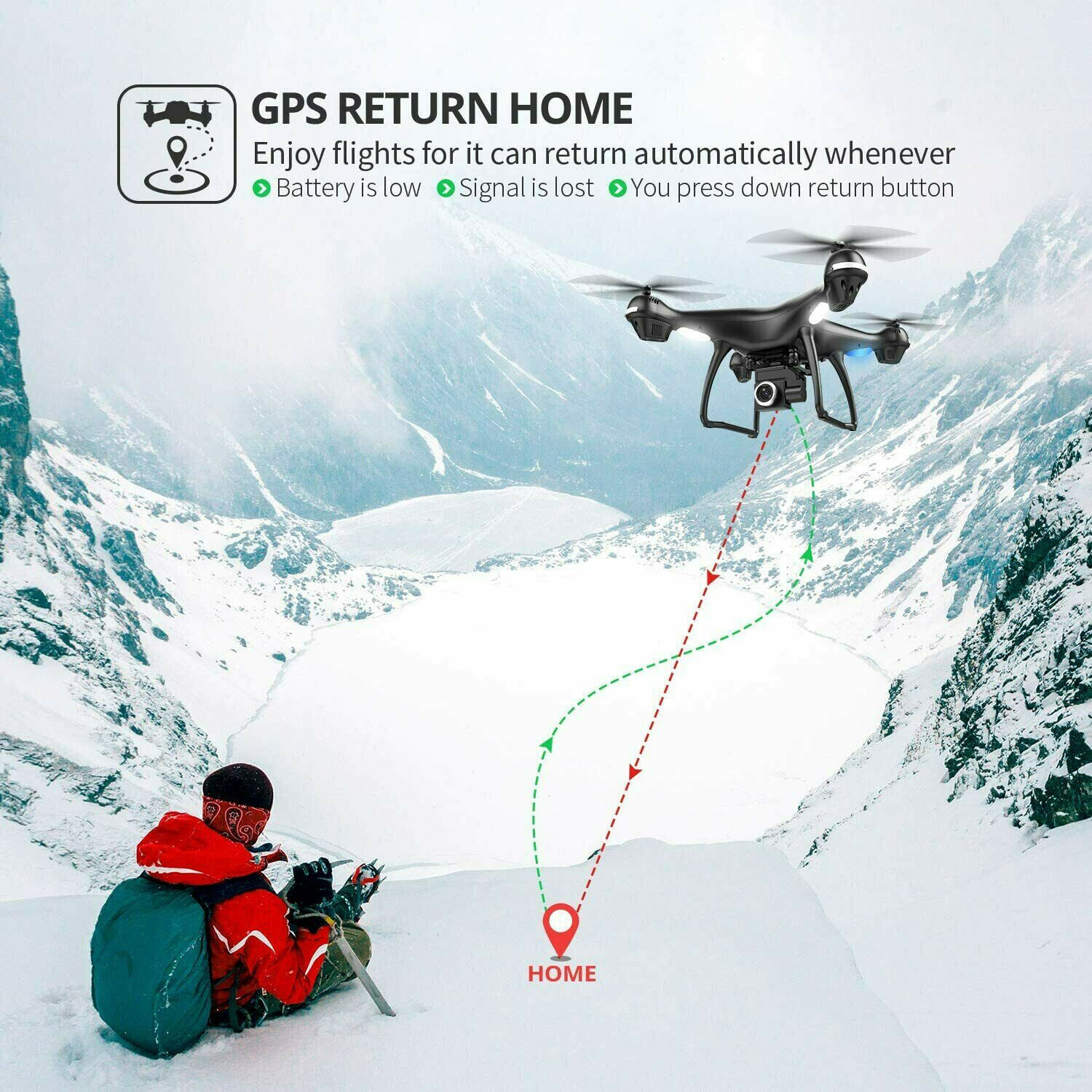 Holy Stone HS100 GPS FPV RC Drone With 2K HD Wifi Camera Quadcopter Follow Me US - $99.95